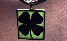 Shamrock Silhouette Pendant Stained Glass