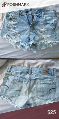 AE light wash festival shorts Light wash high rise distressed shorts. Worn only once American Eagle Outfitters Shorts
