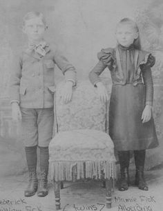 Twins--Fredrick and Mamie Fick, Clay Center, Nebraska, ca 1896. Fick/Perry family line.