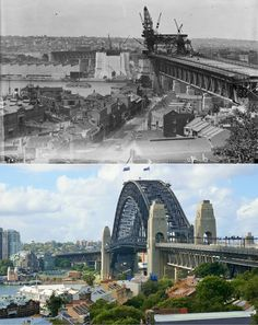 Pylon construction for the Harbour Bridge taking in scenes of Dawes Point, Millers Point & Milsons Point > [National Library of Australia > Kevin Sundgren. By Kevin Sundgren] Harbor Bridge, Sydney Harbour Bridge, South Wales, Then And Now, Historical Photos, Bridges, Past, Around The Worlds, Construction