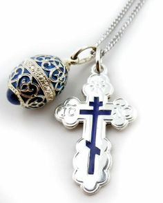 Fine Jewelry SET 925 Sterling Silver Blue Enamel Three Bar Orthodox Cross with Egg Pendant Necklace