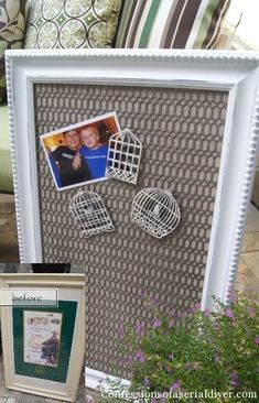 How to turn a cheap frame into a lovely Magnetic Message Board. Framed Magnetic Board, Magnetic Picture Frames, Door Picture Frame, Picture Boards, Diy Magnets, Repurposed Items, Do It Yourself Home, Craft Projects, Upcycling Projects