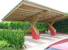 Bamboo Roof landscape-Bamboo - Click Image to See More Reference of Bamboo Roof landscape Timber Architecture, Architecture Design, Bamboo Roof, Bamboo House Design, Bamboo Building, Bamboo Structure, Bamboo Construction, Carport Designs, Bamboo Crafts