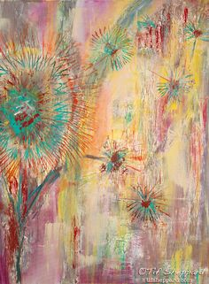 Scattered Dandelions Painting- Canvas Wrapped Giclée Print by Tif Sheppard  www.tifsheppard.com
