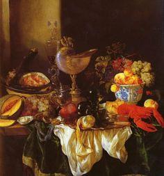 """Date unknown - Beijeren, Abraham van - Still-life with  nautilusjar - 96.5 x 96.5 cm (37.99"""" x 37.99"""") Private collection"""