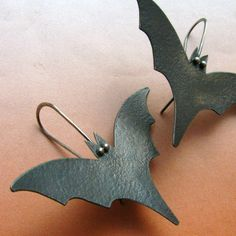 Black Bat Earrings Sterling Silver And Bronze Mixed Metal Artisan Goth Jewelry - Bat Jewelry  Hmmmm wonder if these can be recreated with leather