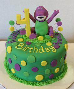 Barney Cake Dinosaur Cake  https://www.facebook.com/pages/Creative-Cakes-By-Karen/101097466638680?ref=hl