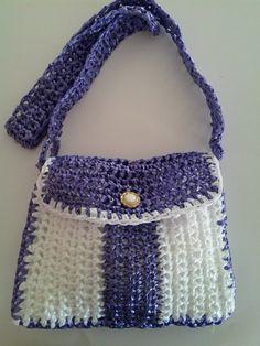 Handmade White and Purple Raffia Bag by alejandraaguirre on Etsy, $15.00