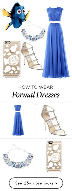 """Dory //Formal"" by life-turmoil on Polyvore featuring Jimmy Choo, Poppy Jewellery and Casetify"