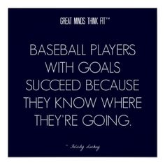 #Baseball #Quote 2: Goals for Success Poster