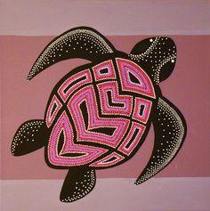 art plastique aborigene | Petite tortue Rose aborigène acrylique