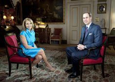ABC News' Katie Couris interviews Prince William at Clarence House, as part of the Queen's Diamond Jubilee. Katie Couric, Clarence House, News Anchor, British History, Abc News, Queen Elizabeth Ii, Prince William, British Royals, Princess Diana