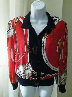 Multi-Color Button Front Blouse Knit Banded Hems Belts & Chains Pattern