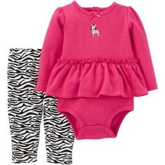 Child of Mine by Carter's Newborn Baby Girl Ruffle Bodysuit and Pant Outfit Set, Size: 18 Months, Pink