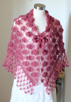 Cranberry Shawl, Crochet Shawl, Bridal Shawl, Bolero, Wrap, Shrug, Bridal Bolero, Bridal Wrap, Wedding Bolero, Shrug, Wedding Wrap Crochet custom shawls for your wedding and many occasion Color shown on the picture # 45- Fire Brick Shape, triangular Made to order Please allow me 2 to 5 days to make it. it depends on my work load. Are you in a hurry, please contact with me, if i am able to speed up your order, i can send it next day. Measurement height---- 30 inch,76 cm width ---- 68 inch…
