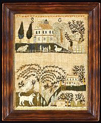 """Sarah Gaskill, 1804. Silk and paper on linen, 10-1/2 x 8-1/4 inches. Initialed """"SG."""" Private collection"""