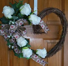 Heart Twig wreath with Ivory Roses and Green Ivy by Just Wreaths by Susan Etsy.com/shop/justwreathsbysusan