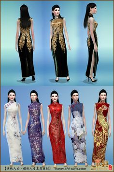 Long Qipao(Fixed) by Moirae (Sims 4)Version:Sims41Mesh + 6 Recolorshttp://www.chi-sims.com/product/html/538.html