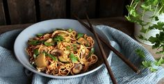 Asian Peanut Noodles with Zucchini and Mushrooms