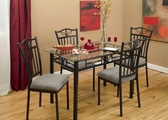 5 Pc Lily Glass Dining Set - Black by Dinette Direct. $599.99. now in stock. Only $89.99. See restrictions on our policy pages.. 30 x 48 inch glass table top - great size for small spaces. Fully welded one piece chair frames - easy to assemble table base. Glass and metal 5 piece dining set. Ships via Apointmet Home Delivery Freight Service right to your door. This is a great size glass table - 30 x 48 inches of 8mm glass. The corners are slightly rounded off so not to be ...