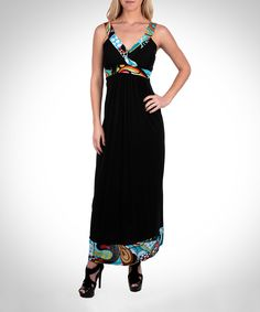 Look at this Black & Blue Abstract-Trim V-Neck Maxi Dress on #zulily today!