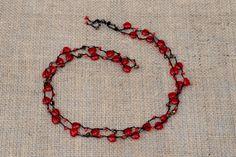 Pretty red glass heart wrap necklace.  by BijoubeadsLondon £12.50