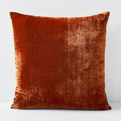Our Lush Velvet Pillow Cover lives up to its name with rich, saturated hues and lustrous sheen. Offering the look and feel of luxe silk velvet, but at a fraction of the cost, it's one of our favorite fabrics of the season. Orange Pillows, Velvet Pillows, Throw Pillows, Couch Pillows, Bedding Shop, Linen Bedding, Bed Linens, Linen Pillows, Lush