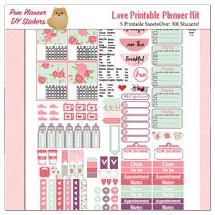 Love Printable Planner Kit in Pink & Green by DigiScrapDelights #green #pink #plannerlove #planneraddict #plannerstickers #printable #organization #decoration