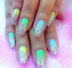 Holo pastel glitter nails