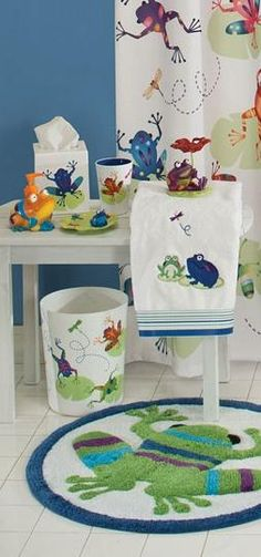 Jumping frogs are everywhere!!! This is great bathroom decor for your kiddos! #AnnasLinens