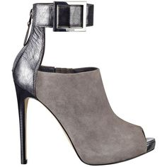 GUESS Shilvy Platform Heels ($100) ❤ liked on Polyvore featuring shoes, pumps, heels, zapatos, gray multi leather, peep-toe pumps, grey platform pumps, high heel shoes, peep toe platform pumps and grey leather pumps