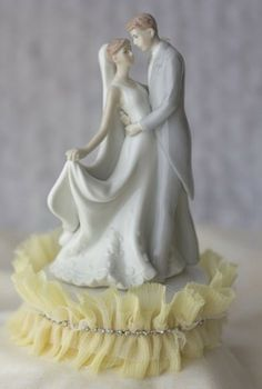 Tulle and Rhinestones First Kiss Wedding Cake Topper - Traditional Wedding Cake Toppers - Cake Toppers