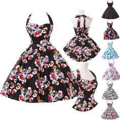$33.70 with shipping, different colors and differing sizes.  For  those who are uncomfortable with their arms can wear a cute sweater or shawl.Vintage Classy Floral Dot Pattern Swing 1950s Rockabilly Housewife Gown Dresses