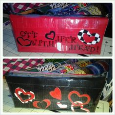 Queen of Hearts pencil case - duck tape pouch - duct tape pouch | theducktapediva - Bags & Purses on ArtFire