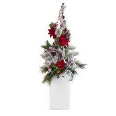 Arrangement de Noël illuminé rouge et blanc 6'