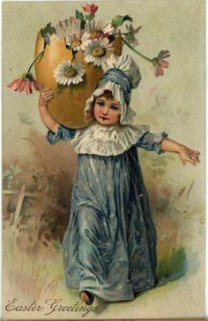 Antique Easter Greetings Postcard Embossed Girl in Blue Easter Egg PFB Germany | eBay