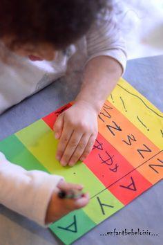 Encore une petite idée pour apprendre a écrire son prénom, repérer les lettres. Les pistes graphiques vertical. apprentissage de la lecture - écriture