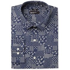 Bar Iii Men's Slim-Fit Stretch Navy Patchwork Print Dress Shirt, (42 CAD) ❤ liked on Polyvore featuring men's fashion, men's clothing, men's shirts, men's dress shirts, navy, men's flower print shirt, mens slim shirts, mens tailored shirts, mens dress shirts and mens slim fit shirts