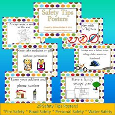 29 Safety Tips Posters! Water Safety, Fire Safety, Safety Road, Safety Tips, Teaching Tools, Teaching Kids, Safety Awareness, Escape Plan, Personal Safety