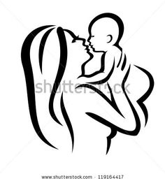 mother and baby vector silhouette, sketch in black lines by baldyrgan, via ShutterStock