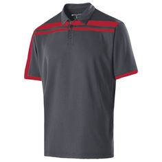 Holloway Men's Carbon/Scarlet Closed-Hole Charge Polo