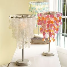 This tropical-inspired table lamp features rows of delicate capiz shells dangling from an iron frame. Girl Nursery, Girl Room, Nursery Ideas, Orange Rooms, Cool Lamps, Pottery Barn Teen, Pbteen, Wax Paper, Bathroom Inspiration