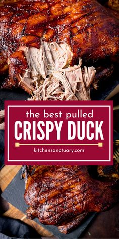Pulled Crispy Duck is seasoned to perfection and cooked crispy and easy to pull. If you are a fan of duck you have a new recipe to give a go. Great for a weekend meal or serving guests. Baked Duck Recipes, Ham Recipes, Steak Recipes, Asian Recipes, Chicken Recipes, Cooking Recipes, Healthy Recipes, Fudge Recipes, Recipes For Duck