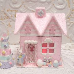 Small Easter Gingerbread House Lighted by GumDropSugarShop on Etsy 29.95 SOLD