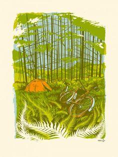 Bike Camping by Adam Turman $38 #minneapolis #minnesota #print #poster #bikes #guys #gifts