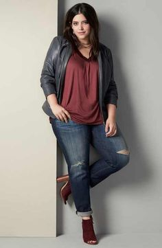 Sejour Moto Jacket, Tee & KUT from the Kloth Jeans Outfit with Accessories (Plus Size)