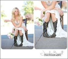 Country Chic & anything but ordinary!  {Sonoma County Wedding Photographer, Country Chic Wedding, Country Wedding, Cowboy boots with wedding dress, vintage wedding decor}