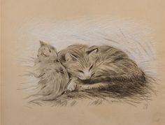 ¤ Deux Chats  par Steinlen. (1915) (Louiza Auktion, June 18, 2011)