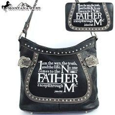 Amazon.com: Montana West Cow Girl Bible Verses Handbag in Black Western Shoulder Purse with Wallet L: Clothing