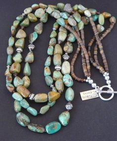 Three-Strand Turquoise Nugget Necklace with Swarovski Crystal, Shell Heishi & Sterling Silver Turquoise Jewelry, Boho Jewelry, Beaded Jewelry, Jewelery, Jewelry Necklaces, Handmade Jewelry, Jewelry Design, Cat Jewelry, Green Turquoise